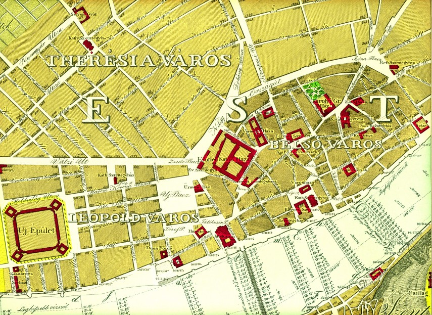 1833. Therésia város, Leopold város és Belső város térképrészlet, 5. kerület