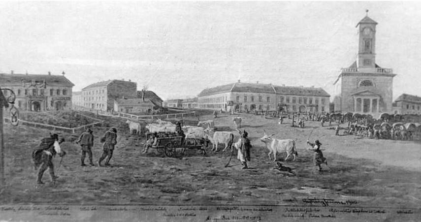 1850 körül, Heu Markt (Széna piac), (Kálvin tér), 9. kerület