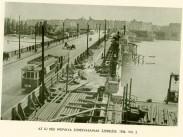 1936, Margit híd, a Margit híd szélesítése, háttérben a pesti hídfő, 2. kerület