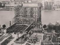 1900,  Döbrentei tér, a régi Erzsébet híd építése, 1. kerület