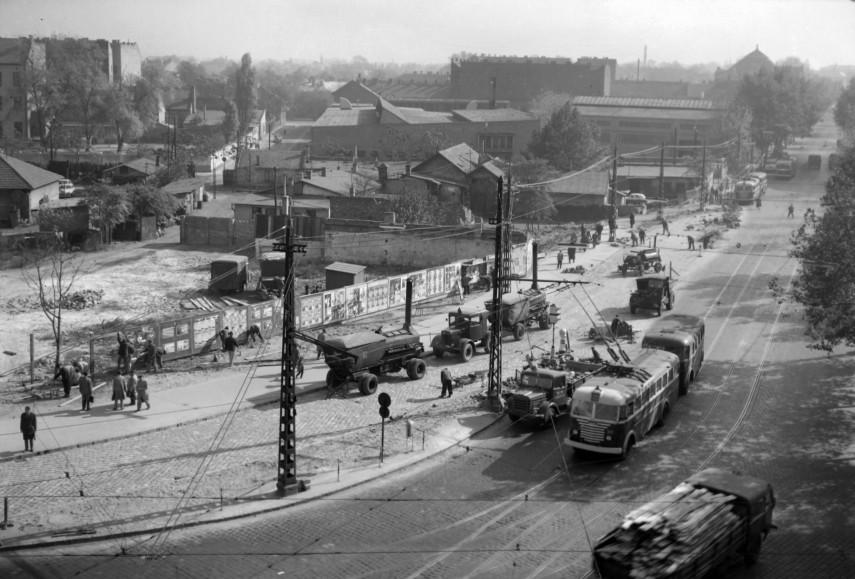 1964, Dózsa György út a Váci út felől nézve, 13. kerület