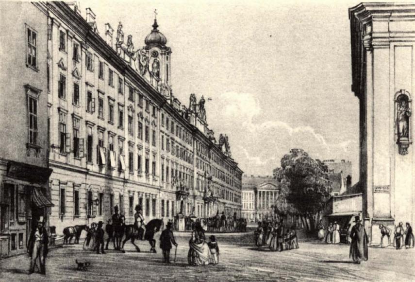 1800-as évek közepe Granadier Gasse (Városház utca), a Károly kaszárnya, 5. kerület