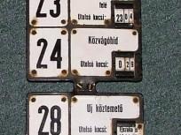 1970-es évek, Orczy tér, viszonylatszám jelző tábla