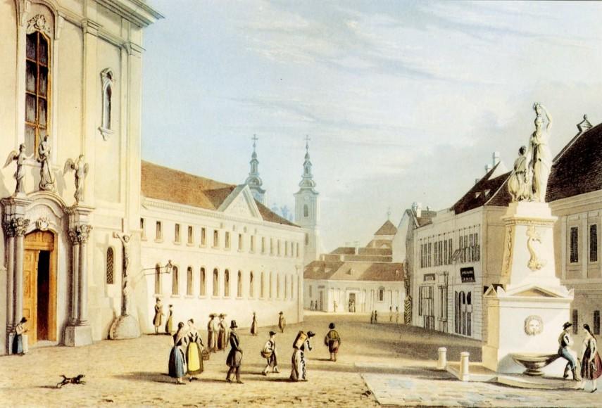 1840 táján, Ferenciek tere, 5. kerület